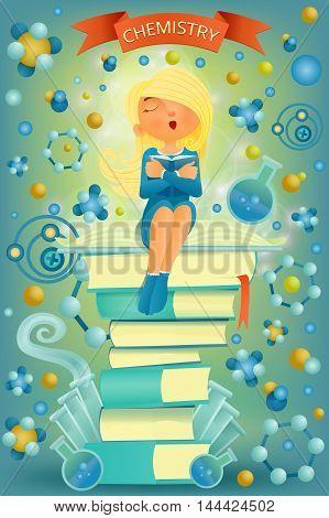 Blonde student girl sitting on top of books. I love chemistry education concept. Vector illustration