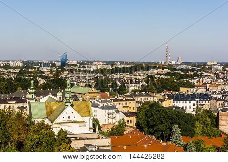 Krakow Poland - August 26 2016: View from the tower to the diverse landscape krakow.