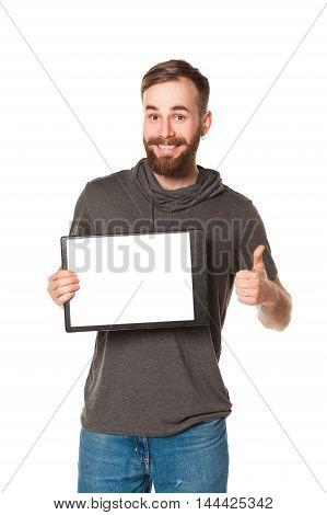 studio portrait man with beard on white background