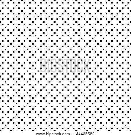 Black and white seamless pattern repeating geometric tiles with diagonal square texture with dotted elements vector illustration.