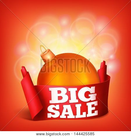 Red realistic curved ribbon paper big sale banner. New year concept. Vector illustration
