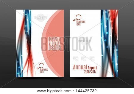 Swirl wave annual report for business correspondence letter. Flyer design. illustration
