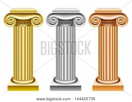 Gold, silver and bronze ancient columns isolated on white. Classic award symbols. Vector illustration