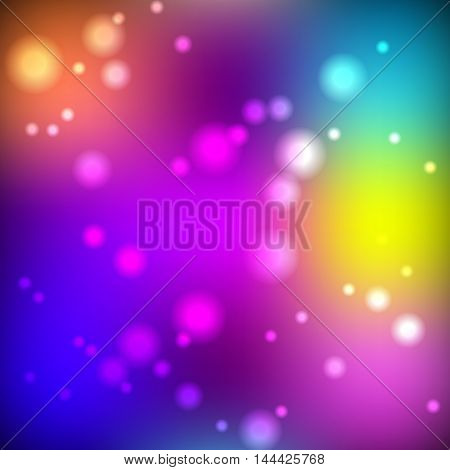 Bright blurred background with round solar flares vector illustration.