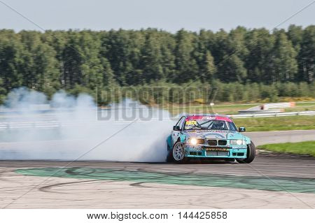 Nizhny Novgorod Russia Aug 20, 2016 : Russian Drift Series Stage 5 RDS Zapad West Vitaly Polishchuk. BMW3 E36.
