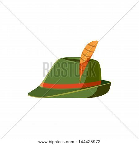 Oktoberfest tirol hat icon in cartoon style isolated on white background