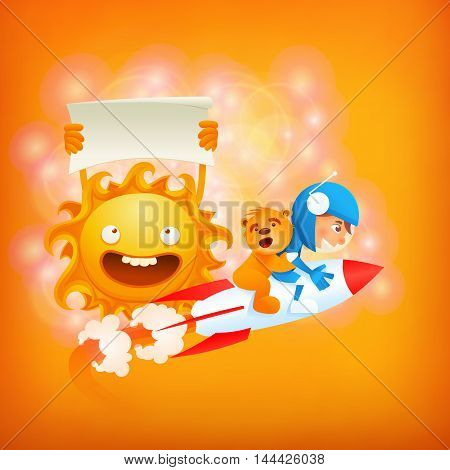 Cute astronaut flying on rocket with teddy bear near sun. Vector motivation card