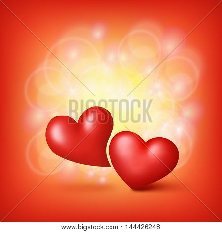 Love Hearts. Valentine card template. Vector illustration