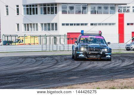 Nizhny Novgorod Russia Aug 20, 2016 : Russian Drift Series Stage 5 RDS Zapad West Puchinin Arkady. BMW E46 POLICE.