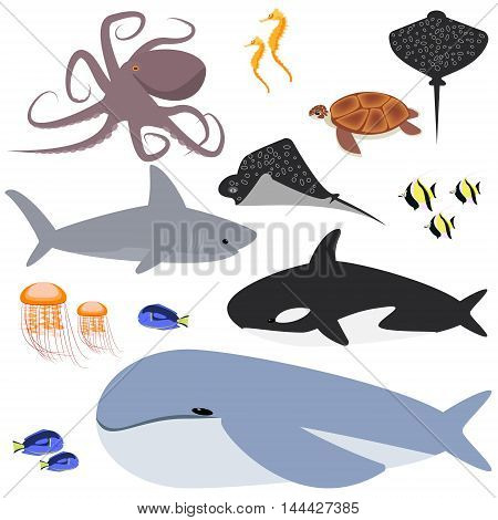 ocean ocean collection of animals fish, shark