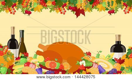 Thanksgiving Day holiday card decorated table food vector