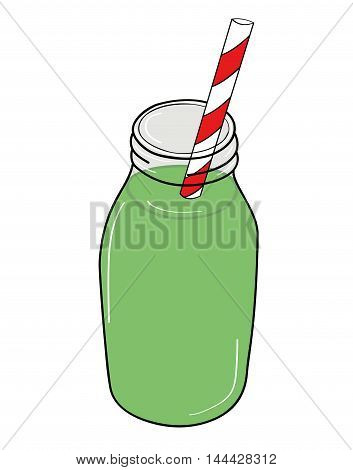 healthy green smoothie with spinach mango banana in glass jars. vector illustration