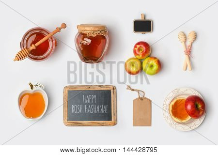 Jewish holiday Rosh Hashana mock up template with honey and apples. View from above. Flat lay