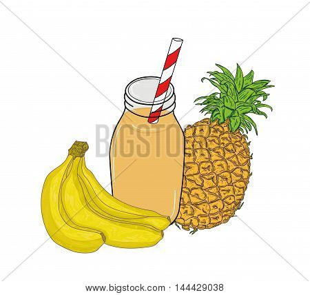 banana and pineapple juice in a glass jar with a straw. vector illustration