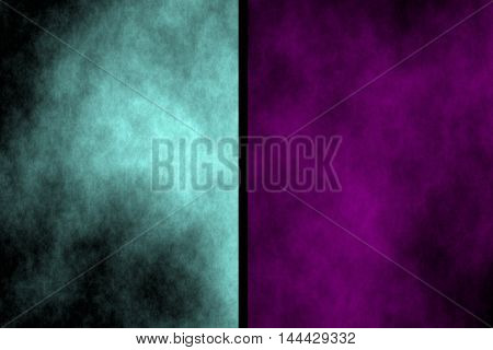 Illustration of cyan and purple divided smoky background