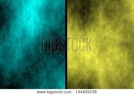 Illustration of cyan and yellow divided smoky background