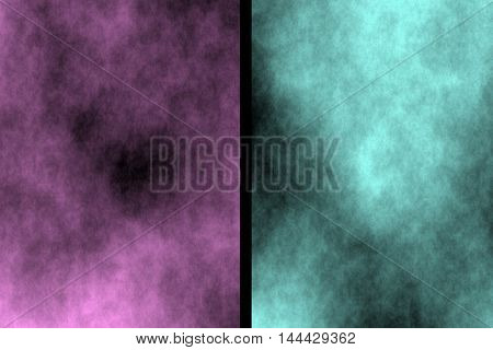 Illustration of pink and cyan divided smoky background