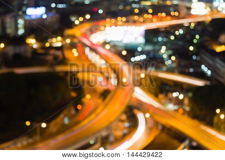 Blurred lights highway interchanged nigh view, abstract background