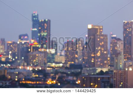 Office building blurred lights night view, abstract background