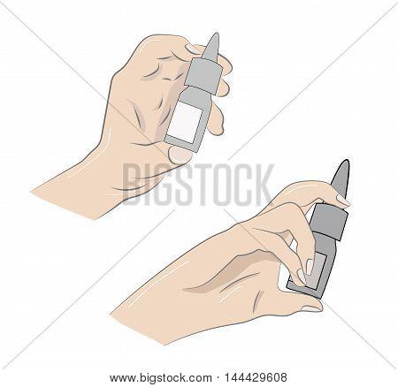 hand used medical nasal spray. vector illustration