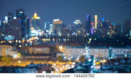 Blurred bokeh lights cityscape downtown night view