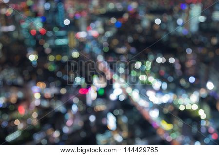 Aerial view blurred bokeh lights cityscape downtown night view