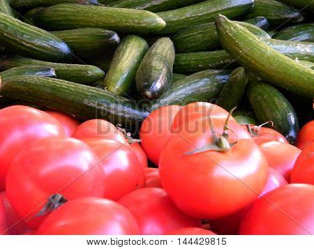 Tomatoes and cucumbers on bazaar in Tel Aviv Israel