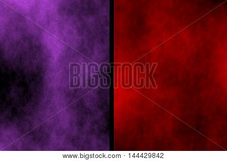 Illustration of purple and red divided smoky background