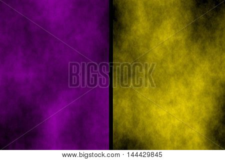 Illustration of purple and yellow divided smoky backgrounds