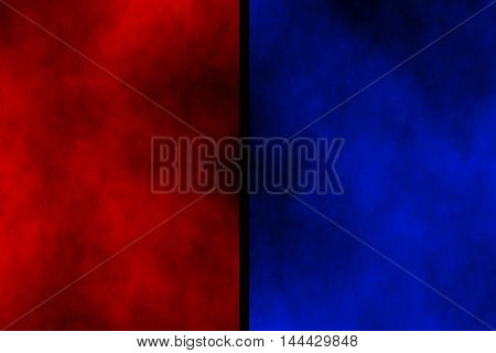 Illustration of red and dark blue divided smoky background