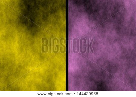 Illustration of yellow and pink divided smoky background