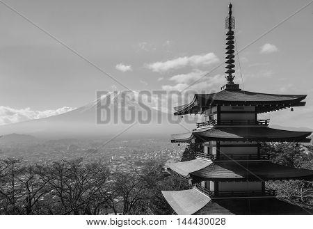 Black and White, Fuji Mountain skyline behind Chureito Pagoda, Japan