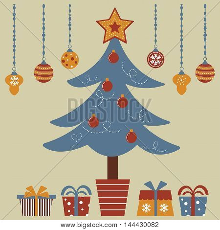 Christmas tree with various gifts. Illustration in vector format