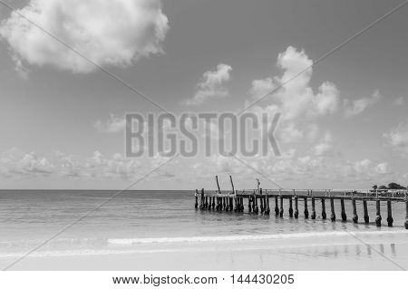Black and White, Beautiful natural beach with fishing boat jetty, natural landscape background