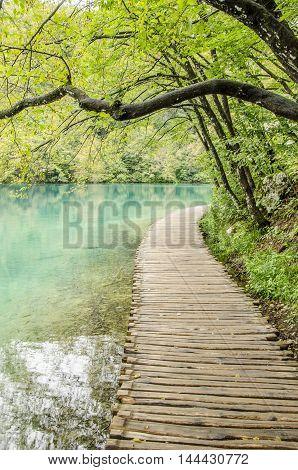landscape of plitvicka lake national park unesco heritage site croatia.