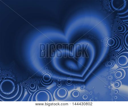 Beautiful shapes of a fractal image creating hearts and circles in blue and white