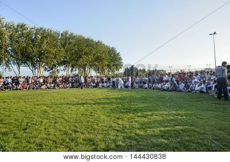 Istanbul Turkey - July 31 2016: Turkmen Wrestling people around the area being. in Zeytinburnu district of Istanbul Turkmen wrestling sports events held in the coastal meadows. Turkmen Uzbek Afghan Turkish Turkmenistan Turkey and other Asian youth are com