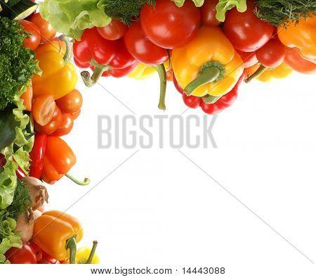 Frame of fresh tasty vegetables isolated on white background