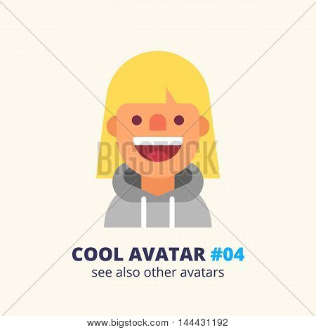 Cool avatar #04. Young blonde woman dressed in hoodie friendly smiling. Modern simple and clean design. Vector icon in flat style.