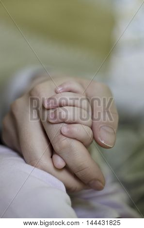 Newborn baby holding his mothers finger selective focus