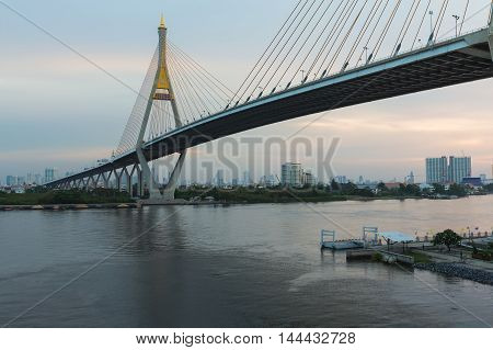 Suspension bridge cross over Bangkok city main river, Thailand