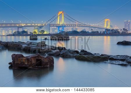 Rainbow bridge waterfront, Odiaba Japan at twilight