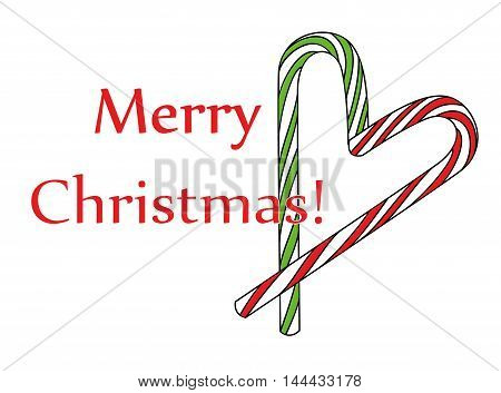 Merry Christmas. Traditional Christmas candy cane. vector illustration