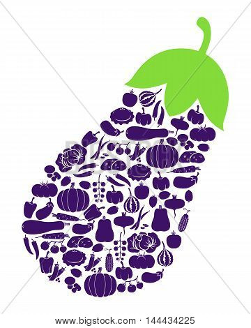 Vector illustrations of eggplant icon of vegetables isolated on white background