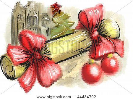 christmas cracker. Festive Christmas background with yellow handmade fabric bon-bon cracker