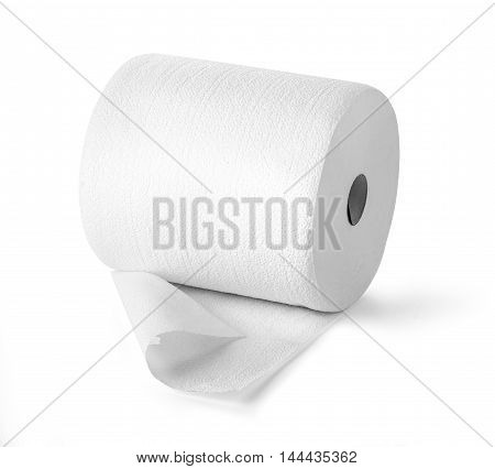 Simple toilet paper on white background with clipping path