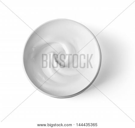 Hygienic cream top view isolated on white background