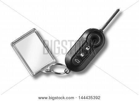 car key with remote control on white withy clipping path