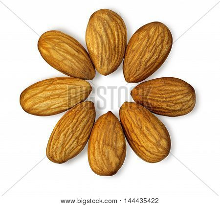 Almonds isolated on white background with clipping path
