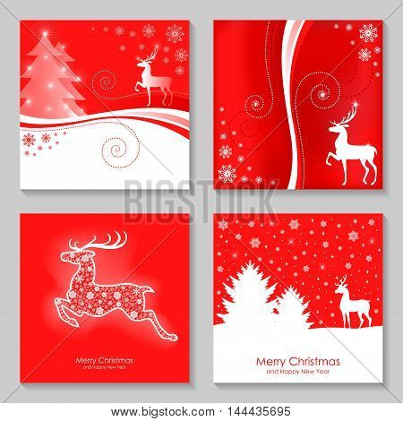Vector illustrations of greeting Christmas card with deer set on red background